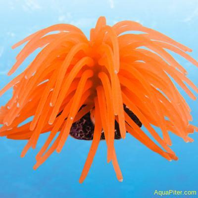 """Декор """"Коралл мягкий"""" из силикона для аквариума, оранжевый,светящийся. L"""