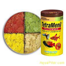 Корм Tetra Menu Futtermix из 4-х разных видов хлопьев для всех видов рыб, 100 мл