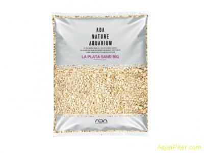 Грунт ADA La Plata sand Big декоративный песчаный крупной фракции, пакет 2кг