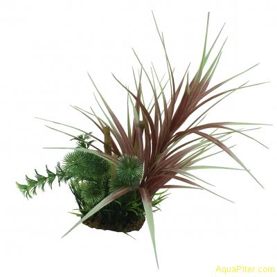 Композиция из искусственных растений с бамбуком Офиопогон красный 20