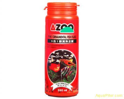 Корм AZOO 9 in 1 Ornamental Fish Flake хлопья для декоративных рыбок, 120мл