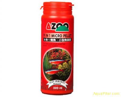 Корм AZOO 9 in 1 Micro Pellet микрогранулы для декоративных рыбок, 35мл