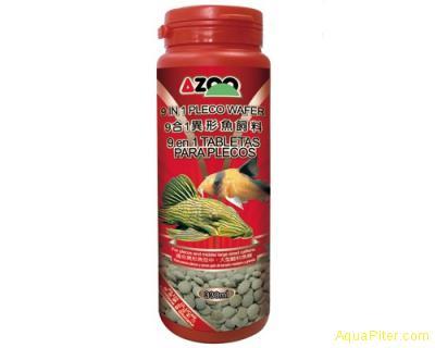 Корм AZOO 9 in 1 Pleco Wafer, пластинки для лорикариевых сомов, 330мл