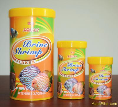 Корм AQUAV Brine Shrimp Flakes, артемия в хлопьях