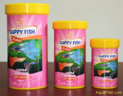Хлопья AQUAV Guppy Fish Flakes для гуппи