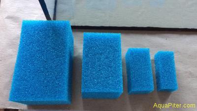 Губка прямоугольная, крупнопористая, синяя, 8х4.2х10см