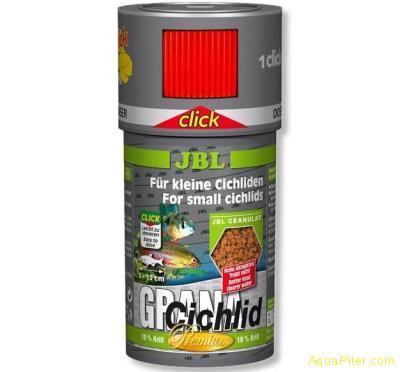 Корм JBL GranaCichlid CLICK для плотоядных цихлид в банке с дозатором, 250 мл. (
